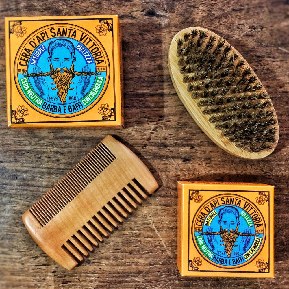 GROOMING KIT - Beard, Mustache and skin care Beeswax Balm with pure essential oil and Food-Grade Ingredients